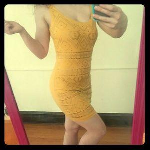 BEBE Yellow Bodycon Dress with Bronze Studs